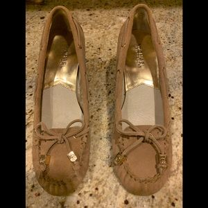 Michael Kors tan suede moccasin Wedge ..size 6 1/2